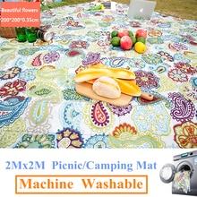 2M x 2M tapis de Camping lavable en Machine tapis de pique nique en plein air plage tente tapis couverture Plaid tapis étanche à lhumidité machine lavage pad
