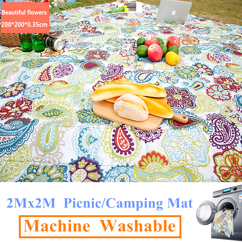 2Mx2M Machine Washable Camping Mat Picnic mat Outdoor Beach tent Mats Blanket Plaid rug Moisture proof machine wash pad-in Camping Mat from Sports & Entertainment