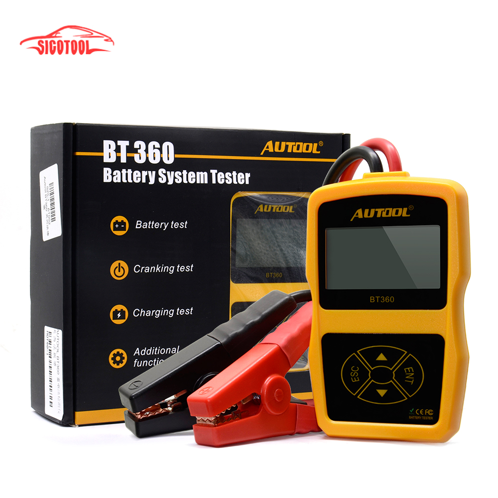 AUTOOL BT360 12V Digital Car Battery Tester for Flooded GEL BT-360 12 Volt Automotive Battery Analyzer CCA Multi-language