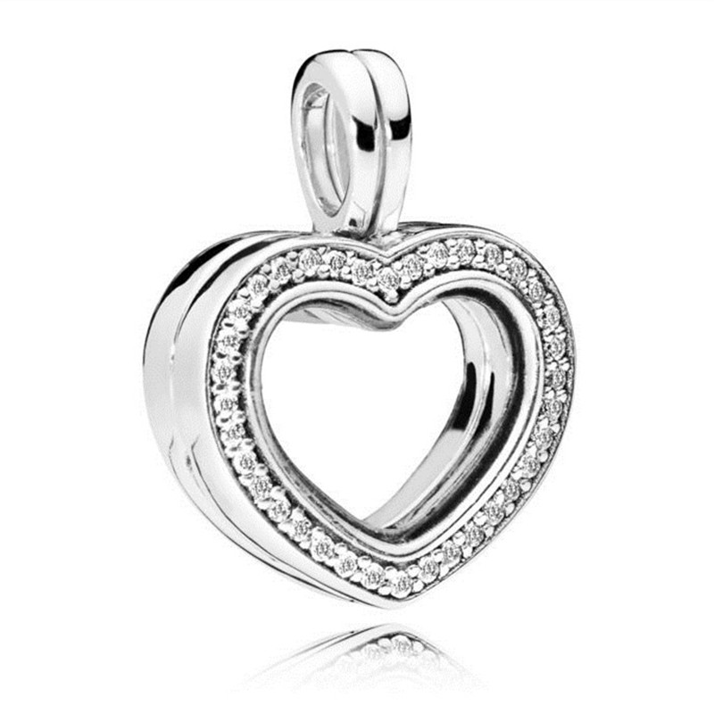 Trendy 925 Sterling Silver Charm Sparkling Floating Heart Locket Charm Fit Original Pandora Bracelet Bangle Women Jewelry Gift trendy letter heart round rhinestone bracelet for women