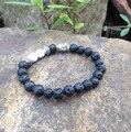 Sn0372 preto lava pulseira de prata antigo pulseira cabeça de buddha natural branco turquesa estiramento braclets mala para homens