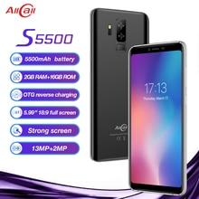 Оригинальный AllCall S5500 5,99 «18:9 5500 mAh аккумулятор Android 8,1 MTK6580M четырехъядерный 2 Гб ОЗУ 16 Гб ПЗУ 13.0MP + 2MP камеры смартфон