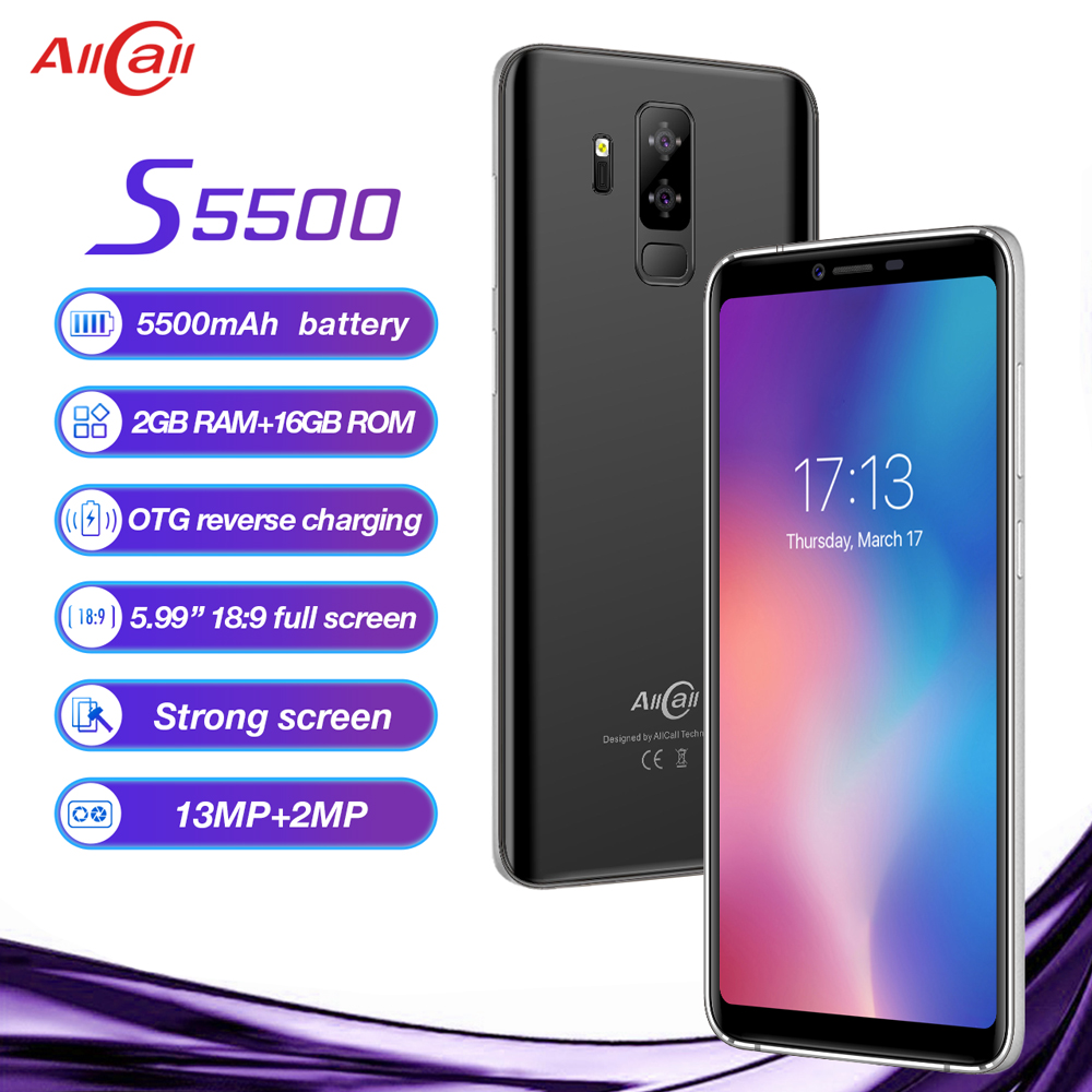 "Original AllCall S5500 5.99"" 18:9 5500mAh Battery Android 8.1 MTK6580M Quad Core 2GB RAM 16GB ROM 13.0MP+2MP Cameras Smartphone"