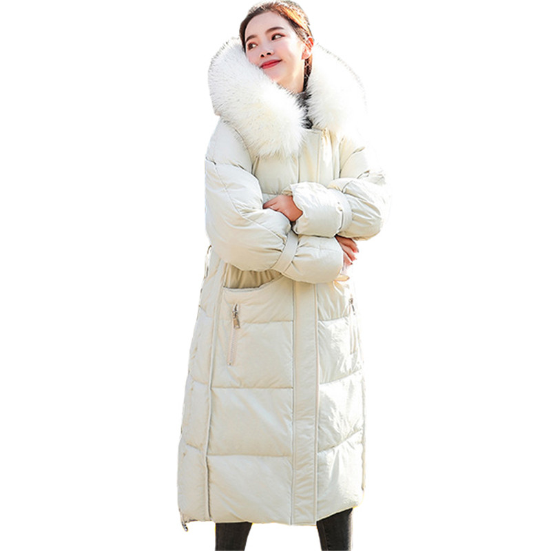Winter Coat Women Black Pink Yellow Plus Size Loose Feathers Hooded   Parkas   19 New Korean Fashion Thick Warmth Down Jackets CX952
