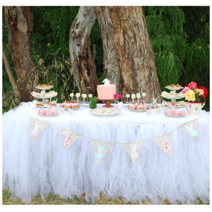 Image 5 - Tulle TUTUกระโปรงตารางบนโต๊ะอาหารงานแต่งงานXmas Baby Shower Decorวันเกิด