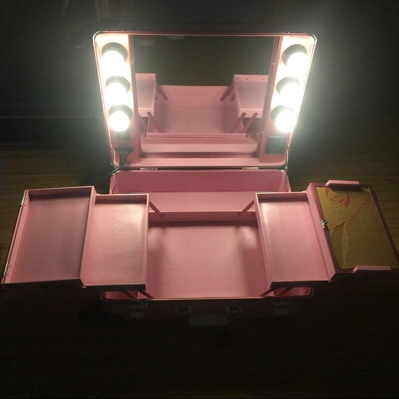 Rosa Make Mit Große Professionelle Lampen Licht Tragbare Roll Weißes Fall up Kosmetik Station Tasche Für Box Kosmetische Led Lichter wgtqRrg