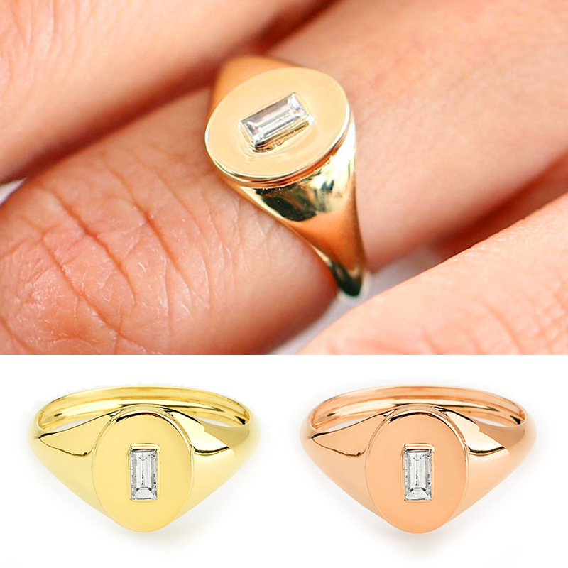 2019 Female Crystal Small Zircon Finger Ring Yellow Rose -8374