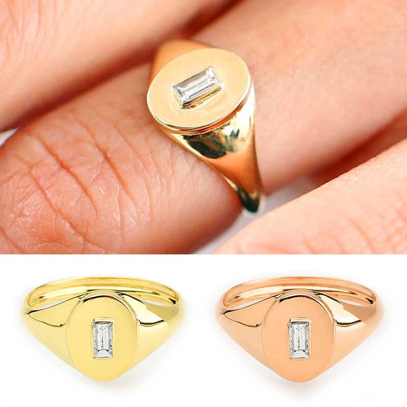 2019 หญิงคริสตัลขนาดเล็ก Zircon แหวนนิ้วมือสีเหลือง Rose Gold Filled หมั้นแหวนผู้ชายและผู้หญิงใหม่ปีของขวัญ