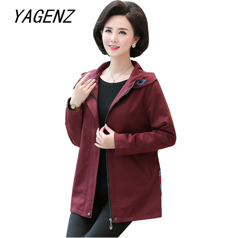 Large size Women hooded   Trench   coat spring and autumn long sleeve slim overcoat Middle-aged female windbreaker Casual top 5XL