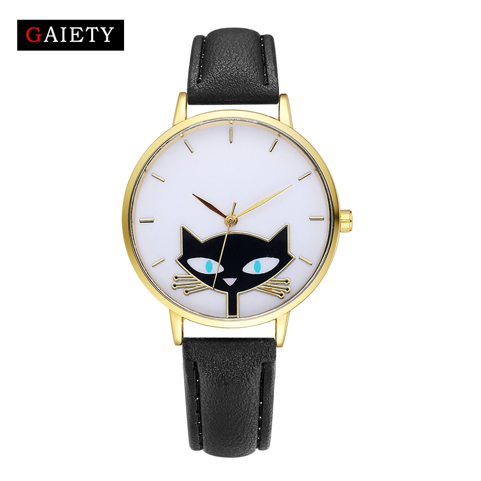 GAIETY Casual Women Quartz Watches Fashion Cartoon Cat Leather Strap Gold Quartz Watch For Women Ladies Classic Dress Watch cartoon gold horse print blue leather strap sports ladies quartz watch relojes hombre 2017 bayan saat women watches hodinky b133