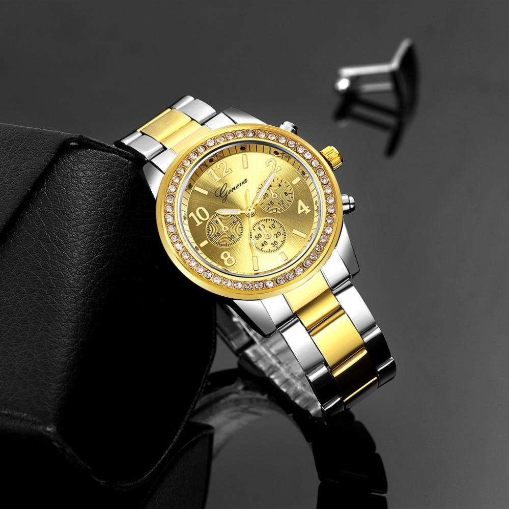 Geneva Hot Sale Luxury Relogio Feminino Business Lady Quartz Watch Women Clock Stainless Steel Band Analog New Dropshipping