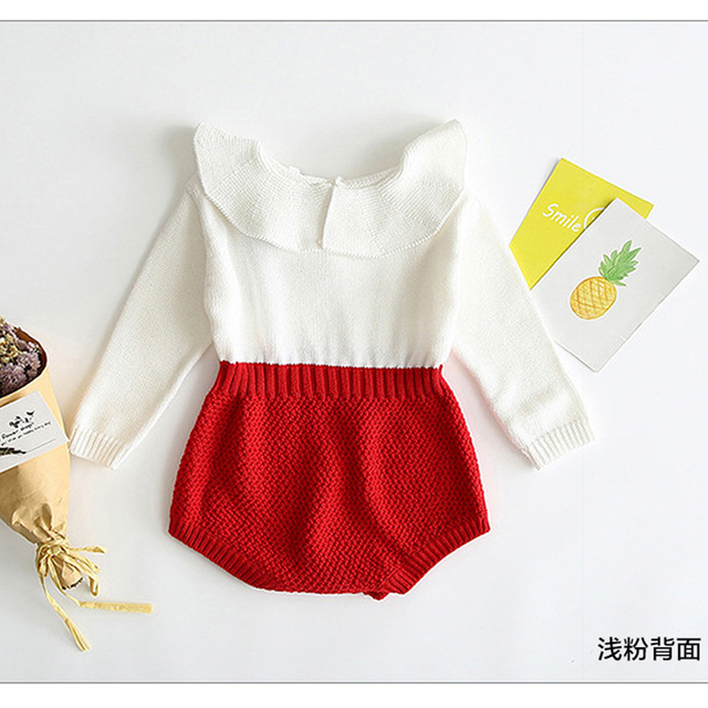 Pudcoco infant Newborn Baby Girl Wool Blend Baby Romper autumn winter Warm Knit Sweater Long Sleeve Rompers baby girl clothes 1
