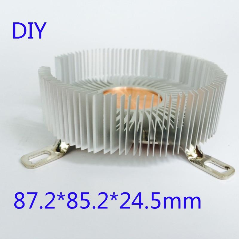 DIY радиатор процессора 87,2*85,2*24,5 мм чистый алюминиевый радиатор для Светодиодный кулер Охлаждение процессора медный сердечник радиатора-in Вентиляторы и охлаждение from Компьютер и офис