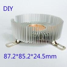 Diy Cpu Heatsink 87.2*85.2*24.5Mm Zuiver Aluminium Koellichaam Radiator Voor Led Light Cooler Cooling Cpu koperen Kern Radiator