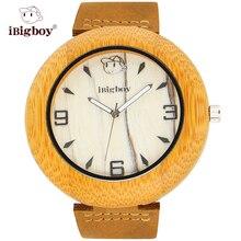 IBigboy Relojes Zebra Dial Reloj De Madera De Bambú Natural De Madera Caliente 12 horas Relojes de Regalo IB-1604Ba