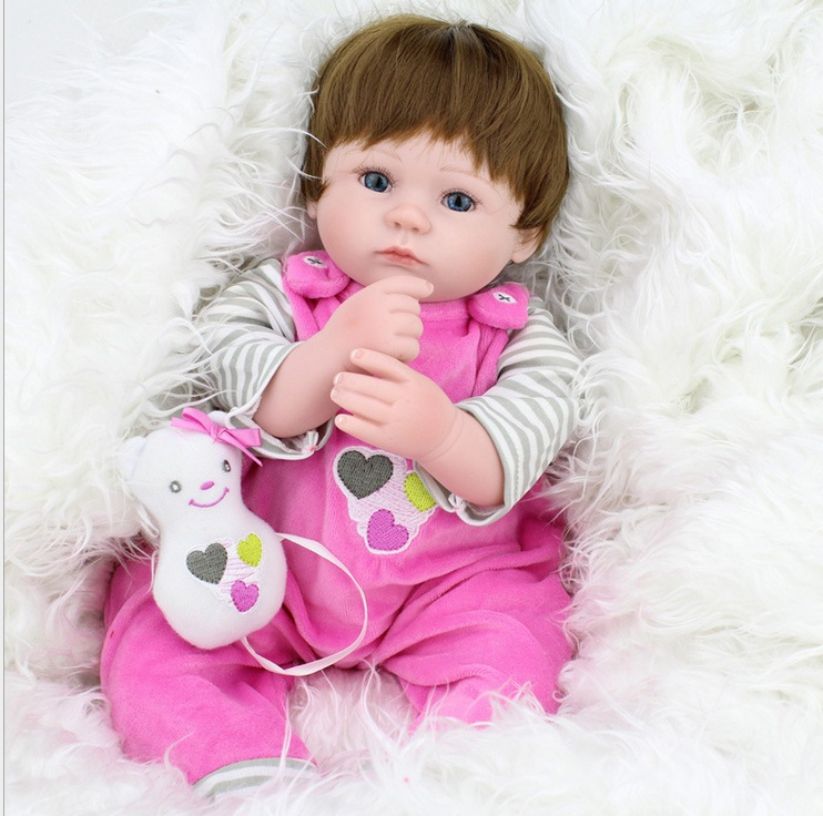 45cm Handmade Lifelike Baby Girl Doll Silicone Vinyl Reborn Bebe Dolls WIth Bear Pacifier Kids Educational Toy Birthday Gift 20 inches handmade doll reborn lifelike american girl newborn bebe dolls silicone vinyl baby toddler toy kids new year gift