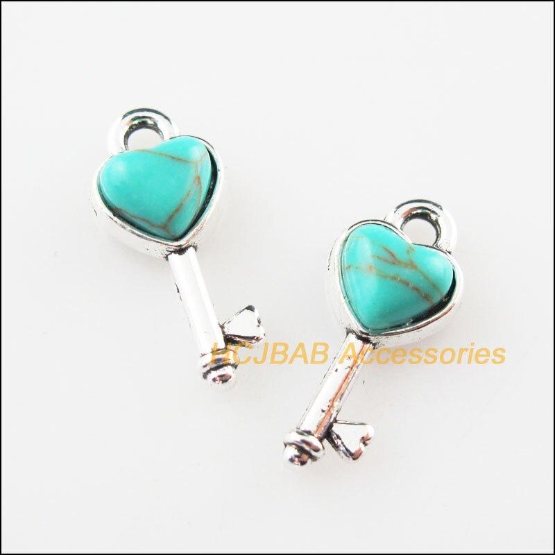 Fashion 15Pcs Retro Tibetan Silver Tiny Heart Key Stone Charms Pendants 7x16mm(China)