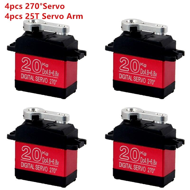 Imperméable à l'eau 4 pièces DS3218 mise à jour RC servo 20 KG 180 270 degrés pleine engrenage en métal numérique robot servo pour voitures RC jouets
