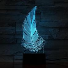 Feather Led Night Light Touch Sensor 7 Color Changing Plumage Decorative Lamp Child Kids Baby Kit Nightlight Plume 3D