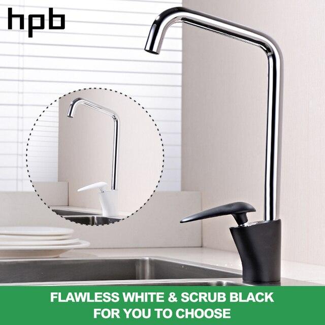 Hpb Kuningan Chrome Dapur Tekan Sink Faucet Sinlge Putih Dan Hitam Menangani Mixer Air Panas