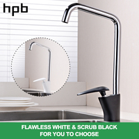 HPB Brass Chrome White And Black Kitchen Tap Sink Faucet Sinlge Handle Hot And Cold Mixer