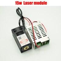 15000 МВт синий лазерный модуль, 15 Вт 450nm DIY Лазерный машины части трубки лазерного диода Вентилятор охлаждения с TTL, фокус не регулируется