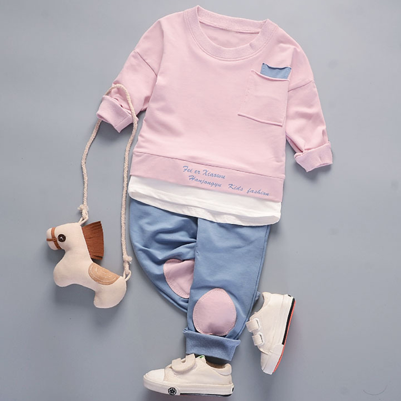 Menoea New 2018 Spring Fashion Style Children Cartoon Baby Boys Sets Long Sleeve Shirt+Jeans Pants 2Ps Boys Clothes Kids Clothes