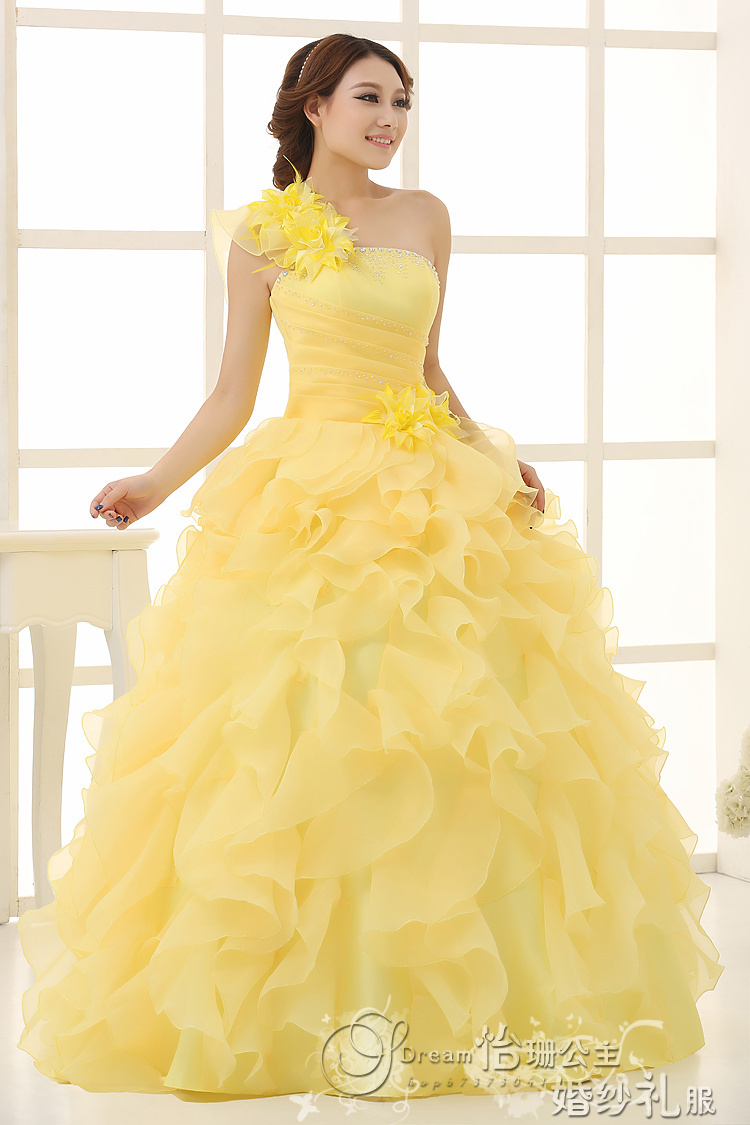 New Arrival Evening Dress Ball Gown One Shoulder Ruffle Rhinestone ...