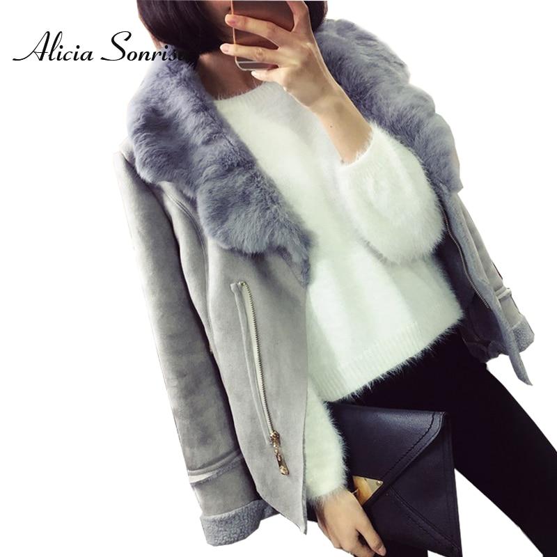 Новинка, зимнее пальто из искусственной овчины, Женская замшевая куртка, 3 вида цветов, воротник из натурального меха кролика, серый, черный, кожаные куртки