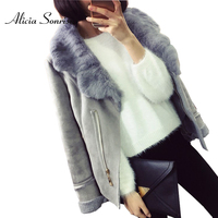 New Winter Faux Shearling Sheepskin Coat Women Suede Jacket 3 Colors Real Rabbit Fur Collar Grey Black Leather Jackets