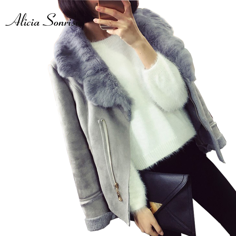 New Winter Faux Shearling Sheepskin Coat Women Suede Jacket 3 Colors Real Rabbit Fur Collar Grey Black Leather Jackets