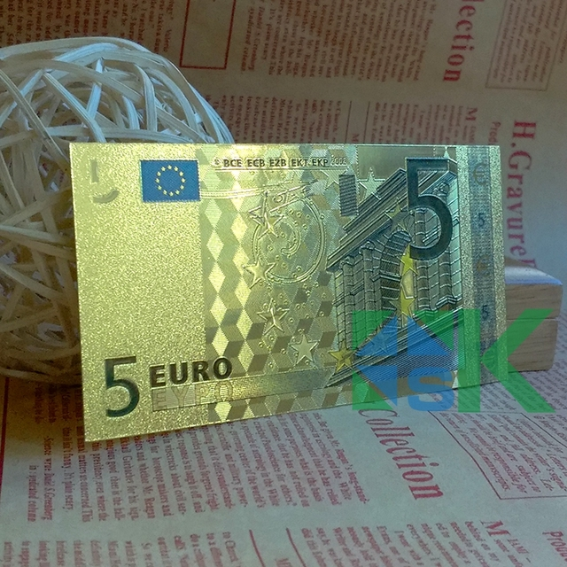 Gold Foil Banknote Collection 10 X Rare Colorful 5 Euro Fine GOLD FOIL BANKNOTE Money Paper Business Gift