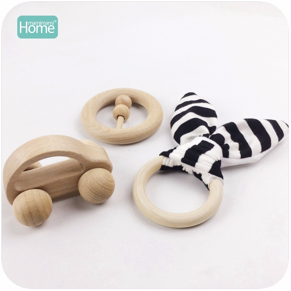 MamimamiHome Wood Teether 3pcs A Set Stripe Cotton Bunny Ear Newborn Baby Rattle Small Car Toys