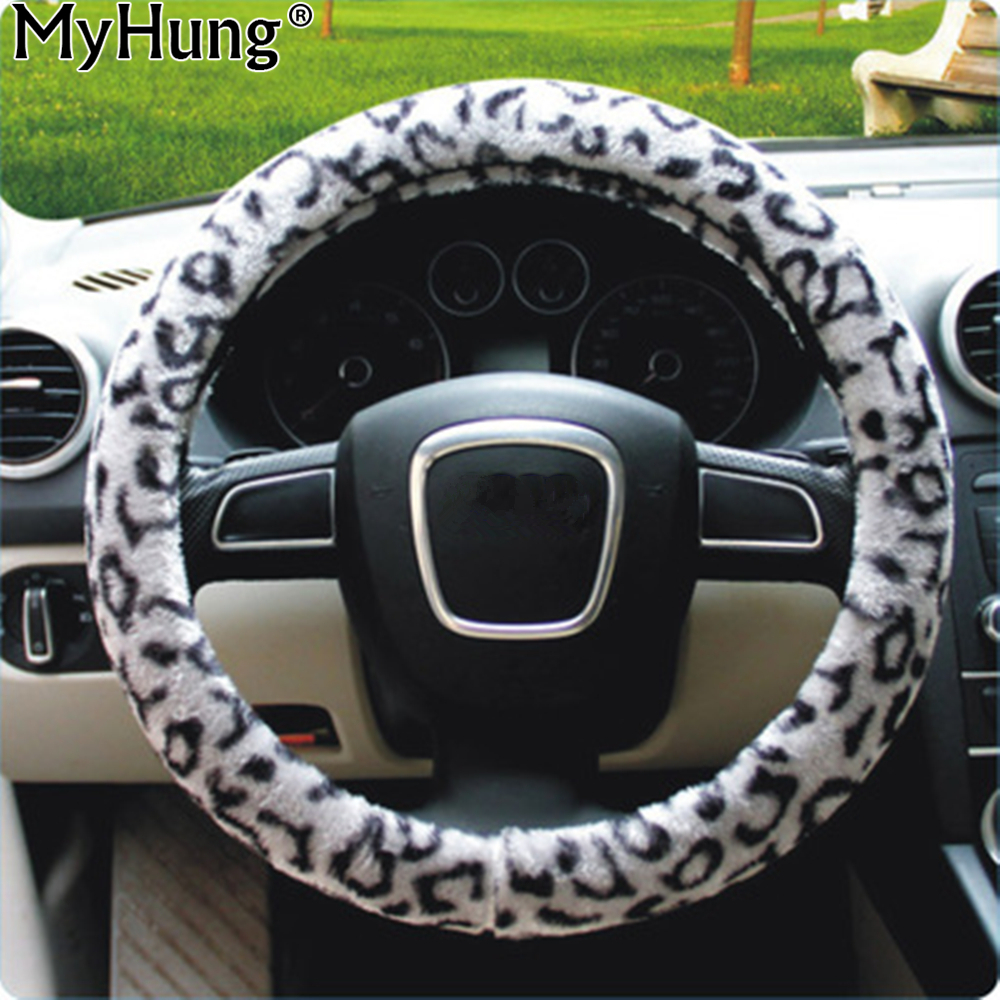 Universal 38cm Soft Leopard Auto Car Steering Wheel Covers Car Automatic Covers For All Cars Car-Styling Accessories 1pc