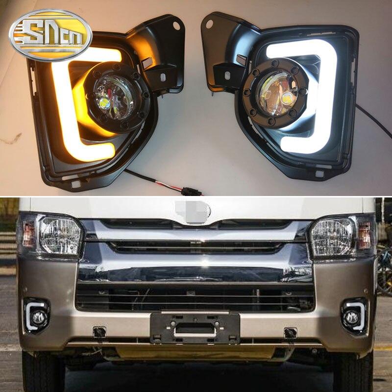 2 piezas LED de luz diurna para Toyota Hiace 2014-2018 amarillo señal función resistente al agua 12 V Coche DRL lámpara LED lámpara de niebla