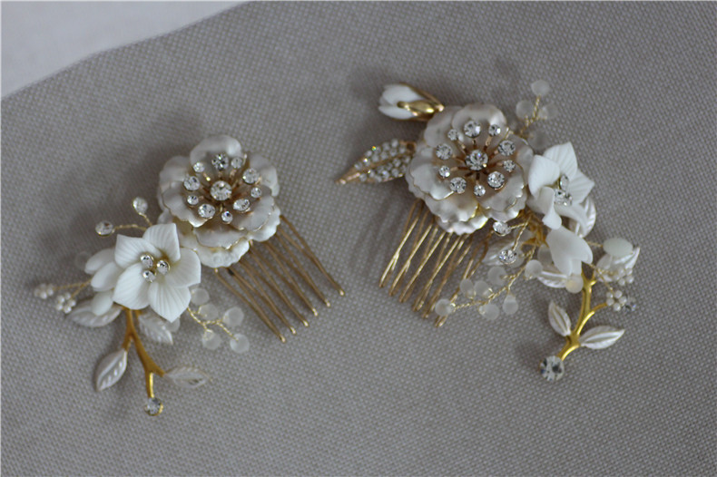 Image 4 - Jonnafe Gold Color Wedding Hair Comb Pins Delicate Porcelain Flower Bridal Headpiece Women Prom Hair Accessories-in Hair Jewelry from Jewelry & Accessories
