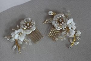 Image 4 - Jonnafe Gold Color Wedding Hair Comb Pins Delicate Porcelain Flower Bridal Headpiece Women Prom Hair Accessories