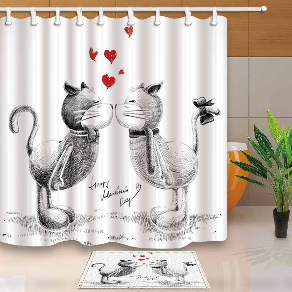 High Quality Shower Curtains Sketch Cats Love Bath Screens Home Decor Polyester Fabric Waterproof and Mildew Proof with 12 Hooks