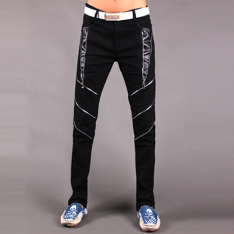 Hot 2019 New Young Fashion Men's Casual Pants Tight Autumn Korean Jeans Pants Zipper Black White Pants Mens Hip Hop Pants 29-33