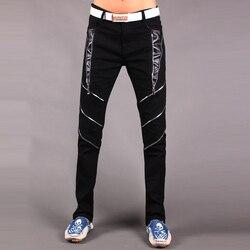 Hot 2019 New Young Fashion Men's Casual Pants Tight Autumn Korean Jeans Pants Zipper Black white pants Mens Hip Hop Pants 29-33
