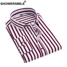 3f48ed1812 CHUVEIROS Camisas Masculinas Listrado Vermelho Camisa De Vestido Dos Homens  de Manga Longa Slim Fit Primavera