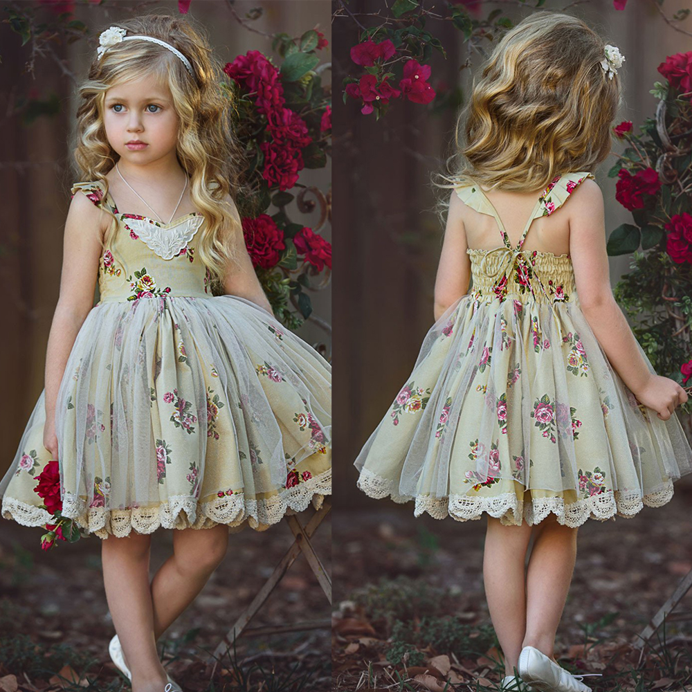 2 To 6 Year Kid Baby Girl Dresses Floral Printing Princess Girls Dress Party Wear Tulle Kids Children Prom Gown Birthday Dress