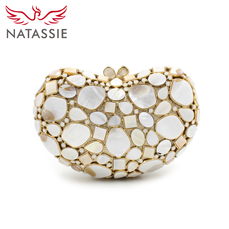 ФОТО NATASSIE Women Clutch Bags Ladies White Party Shell Bag Female Black Gray Clutches Purses
