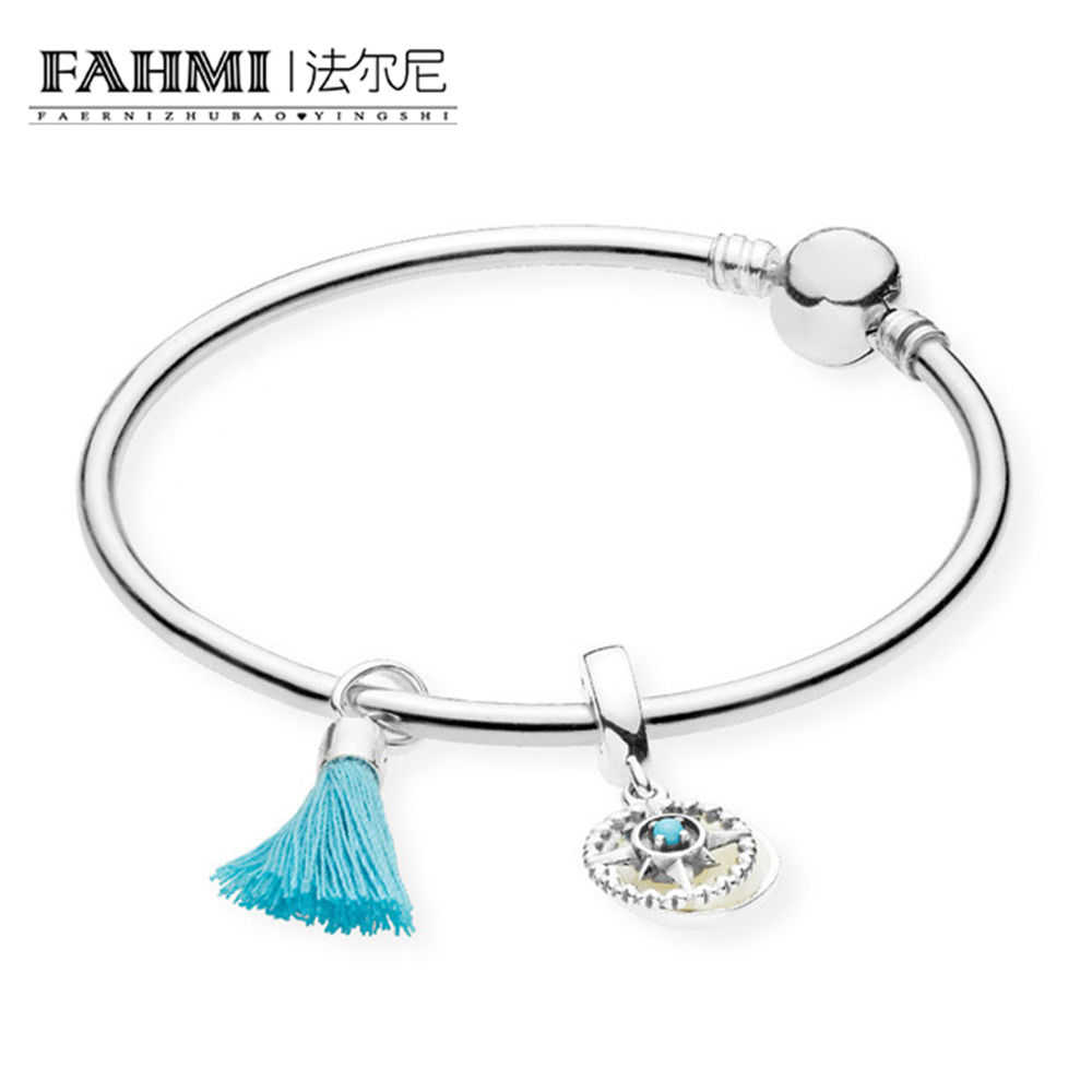 FAHMI 100% 925 Silver Genuine Glamour RAU0461 Turquoise Tassel and Compass Bangle Set Original Women Jewelry faux turquoise cow engraved jewelry set