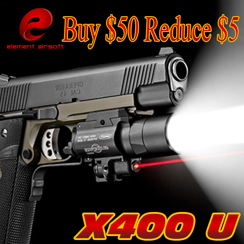 EX367 Element SF X400 ULTRA LED Tactical Light 20mm Picatinny Weaver Rail Weapon Light With Red Laser For Pistol or Hunting aimtis x300 series x300v ir flashlight tactical led night vision weapon light glock 17 18 18c pistol armas fit 20mm rail