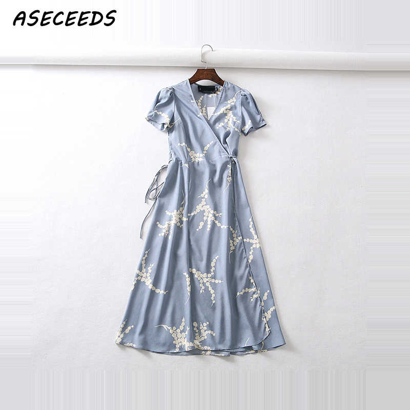 Summer flower dot print wrap dress women short sleeve chiffon beach dress korean fashion work vestidos v neck party midi dress