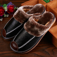 Mntrerm Winter Men's Slippers Genuine Leather Home Indoor Non-Slip Thermal Shoes Men 2018 New Warm Winter Slippers Plus Size 2