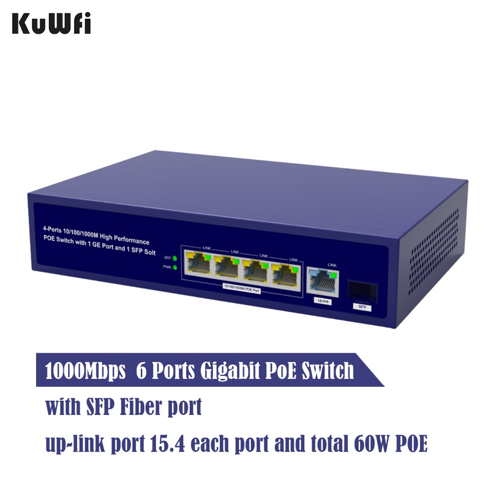Image 4 - 6Ports Gigabit POE Switch 1000Mbps Ethernet Switchs for Network Cameras&Wireless AP 30W Switch With Gigabit SFP Fiber-in Network Switches from Computer & Office