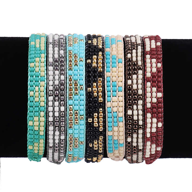 Bohemia Multicolor MIYUKI Beads Geometric Bracelet & Bangle for Women Adjustable Charm Handmade Braided Ethnic Jewelry Gift