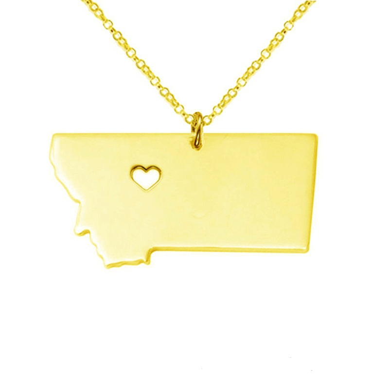 10 PCS American state Montana necklace 316L stainless steel heart map necklace silver gold rose gold statement pendant necklace